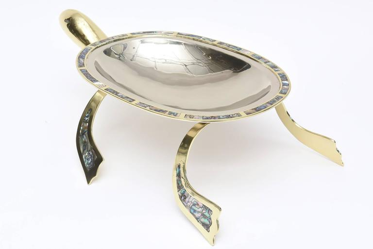 Mid-20th Century Los Castillo Abalone, Brass & Silver Plate Centerpiece & or Serving Bowl Vintage For Sale