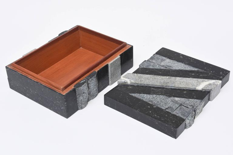 Textural Polished and Unpolished Stone and Wood Large Sculptural Box 3