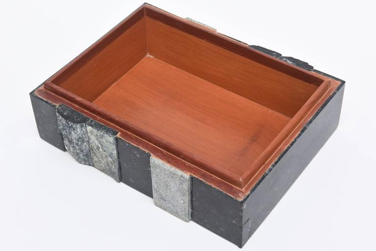 Textural Polished and Unpolished Stone and Wood Large Sculptural Box 4