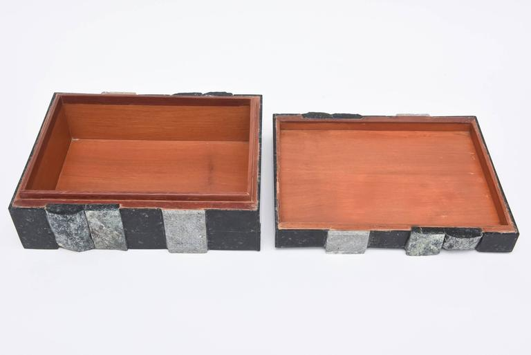 Textural Polished and Unpolished Stone and Wood Large Sculptural Box 6