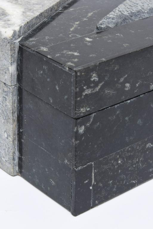 Textural Polished and Unpolished Stone and Wood Large Sculptural Box 9