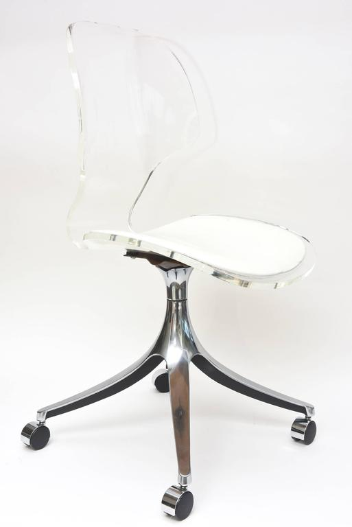 Vintage Lucite Chrome White Vinyl Desk Vanity Chair at 1stdibs