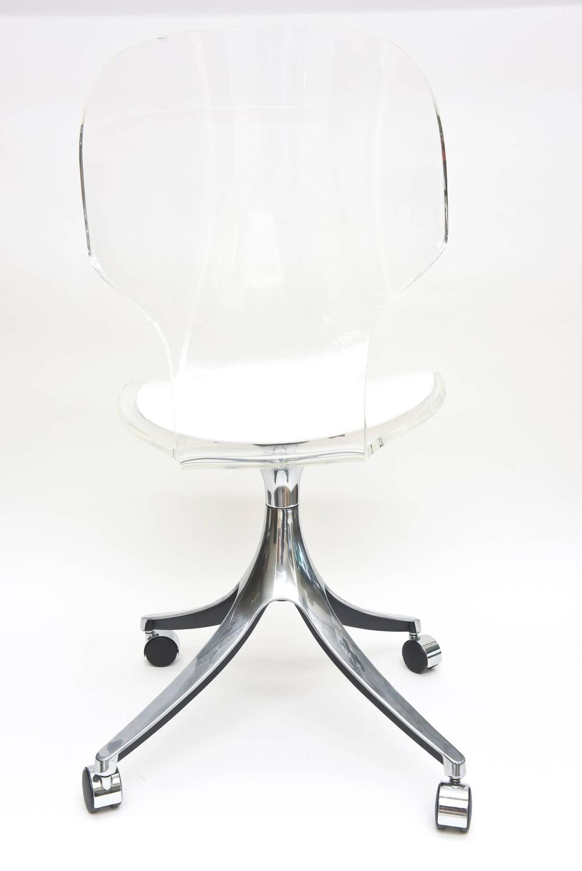 vintage lucite chrome white vinyl desk vanity chair at 1stdibs