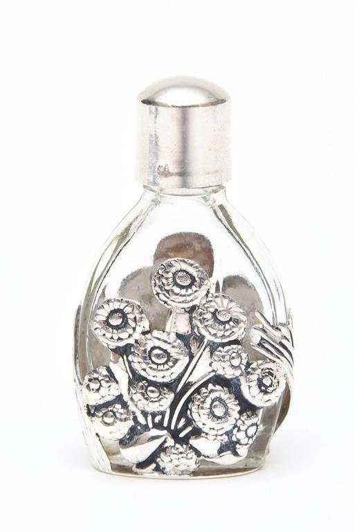 Early 20th Century French Deco Sterling Silver & Glass Traveling Perfume Bottle and Funnel For Sale