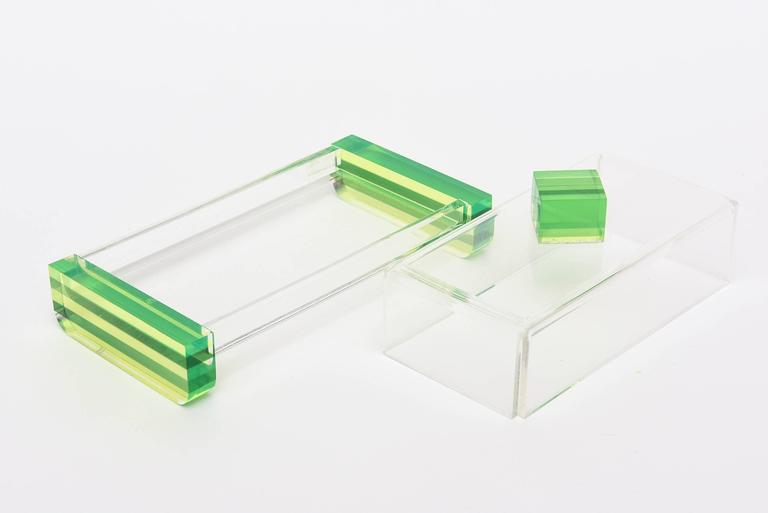Mid-Century Modern Charles Hollis Jones Style Colored Lucite Two-Part Box For Sale