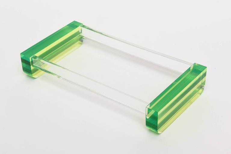 Charles Hollis Jones Style Colored Lucite Two-Part Box For Sale 1