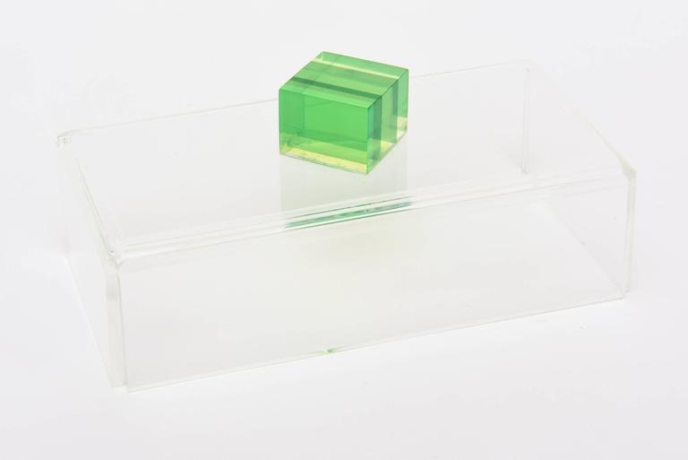 American Charles Hollis Jones Style Colored Lucite Two-Part Box For Sale