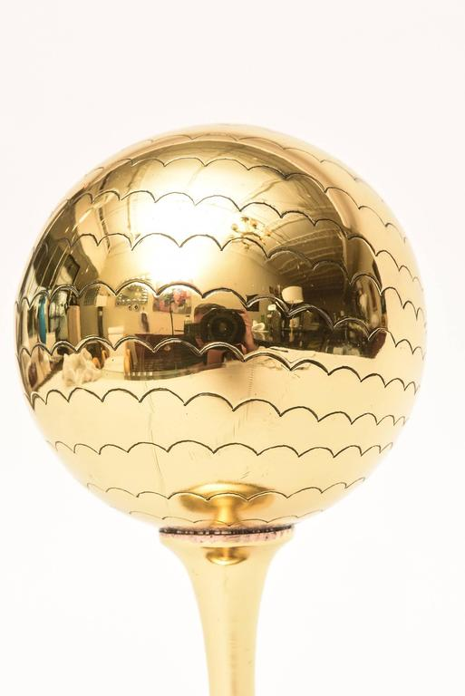 Mid-20th Century Polished Brass Vintage Mid Century Modern Globe Style Sculpture /Object For Sale