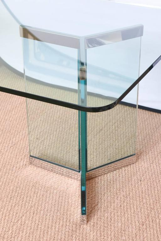 Glass Leon Rosen for Pace Sculptural Dining Table For Sale