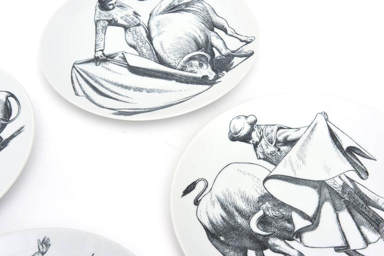 Mid-Century Modern Piero Fornasetti Porcelain Tori and Torerj Dinner Plates Rare Set of Six Vintage For Sale
