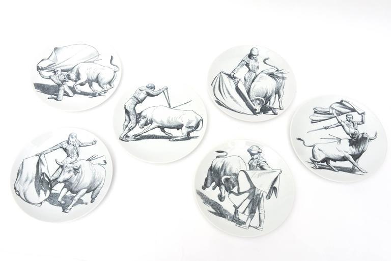 Italian Piero Fornasetti Porcelain Tori and Torerj Dinner Plates Rare Set of Six Vintage For Sale