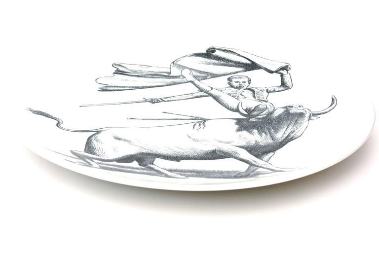 Piero Fornasetti Porcelain Tori and Torerj Dinner Plates Rare Set of Six Vintage For Sale 1