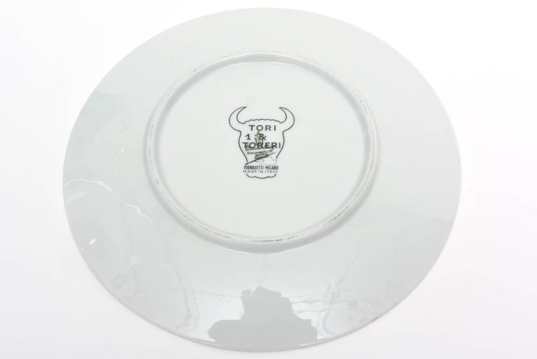 Piero Fornasetti Porcelain Tori and Torerj Dinner Plates Rare Set of Six Vintage For Sale 2
