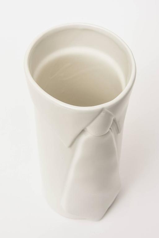 Raymor Off-White Gazed Ceramic Vase Italian Pop Art For Sale 2