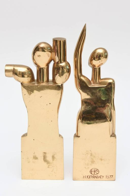 Pair of Modernist Vintage Bronze Signed Cubist Sculptures For Sale 4