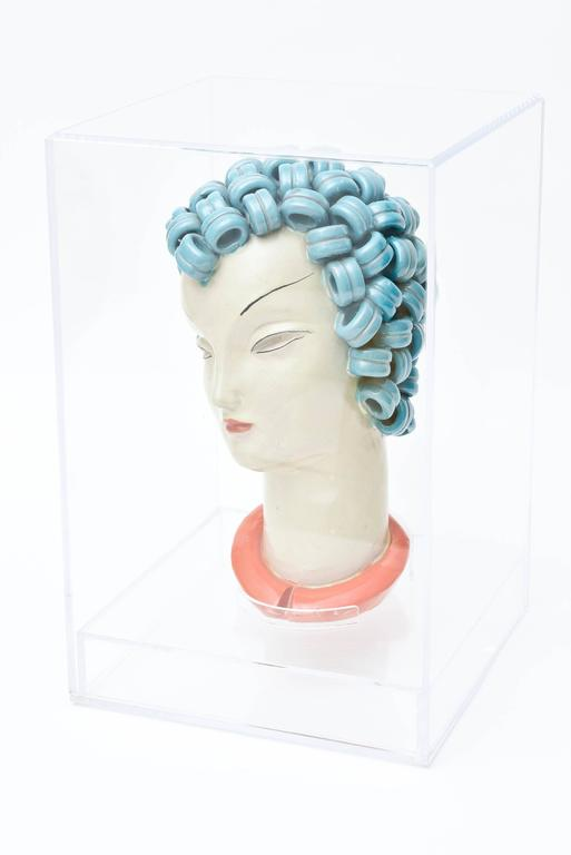 Hungarian Goldscheider Inspired Czech Signed Ceramic Stylized Art Deco Head/ SAT. SALE For Sale