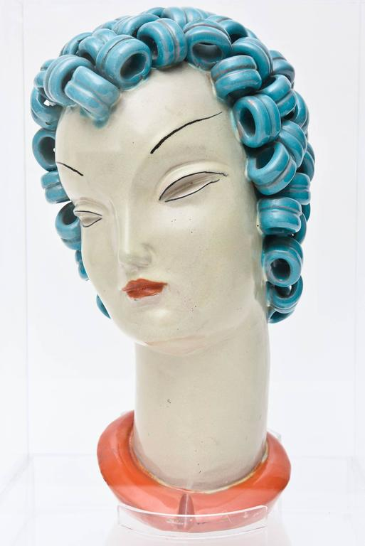 Goldscheider Inspired Czech Signed Ceramic Stylized Art Deco Head In Good Condition For Sale In North Miami, FL
