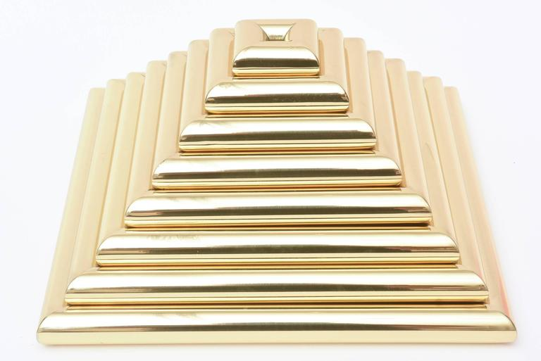 Italian Romeo Rega Pyramid Polished Brass Sculpture / Serving Trays 2