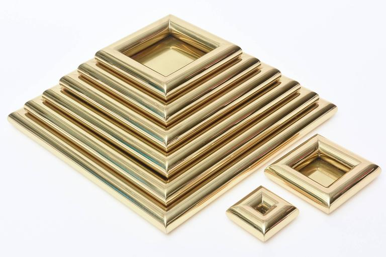 Italian Romeo Rega Pyramid Polished Brass Sculpture / Serving Trays 7