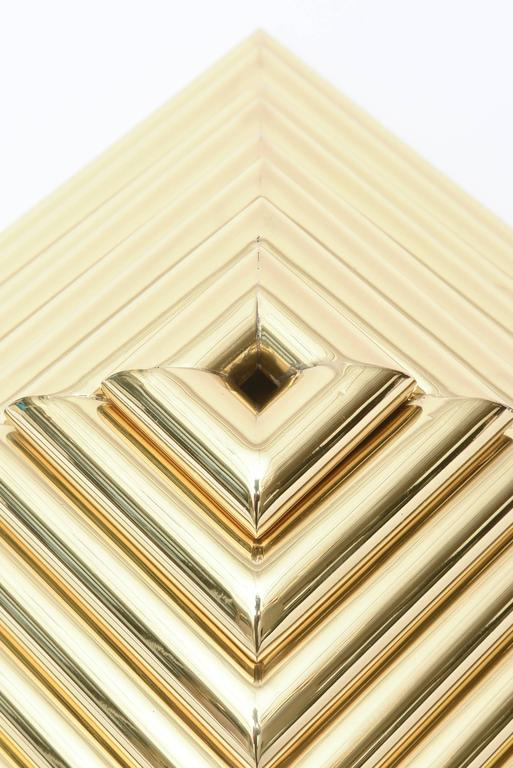 Italian Romeo Rega Pyramid Polished Brass Sculpture / Serving Trays 8