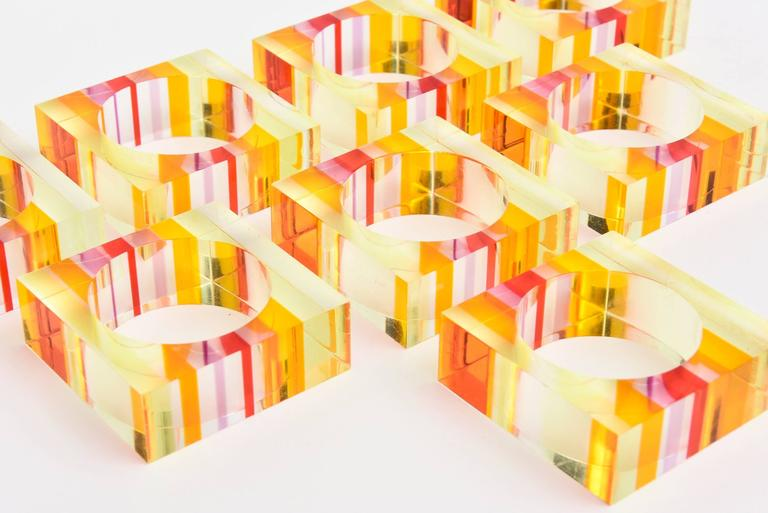 Eight Lucite Charles Hollis Jones Inspired Optical Square Napkin Rings 3