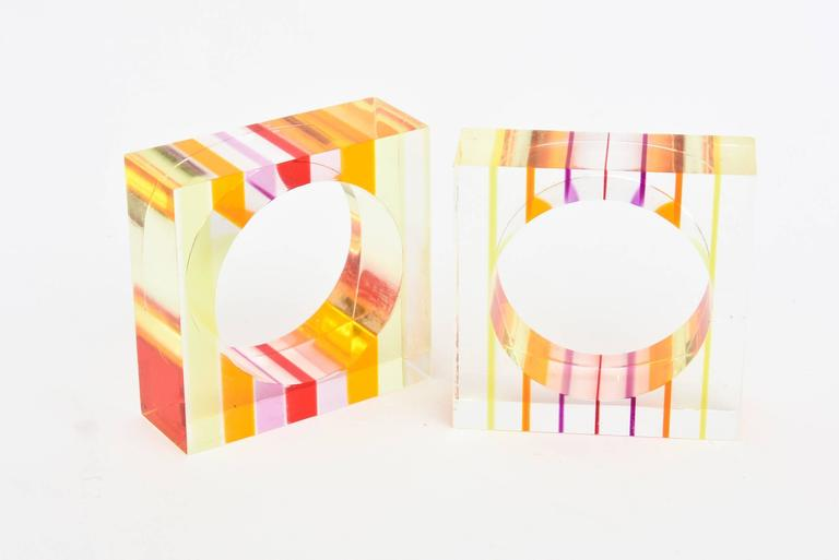 Eight Lucite Charles Hollis Jones Inspired Optical Square Napkin Rings 4