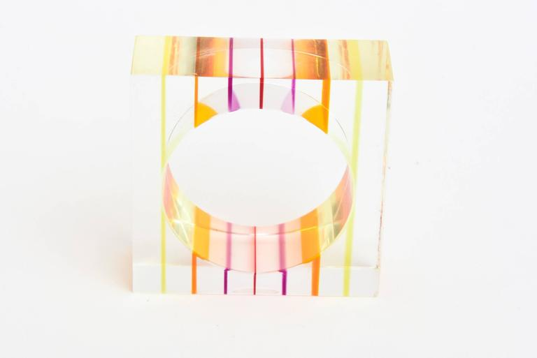 Eight Lucite Charles Hollis Jones Inspired Optical Square Napkin Rings 7