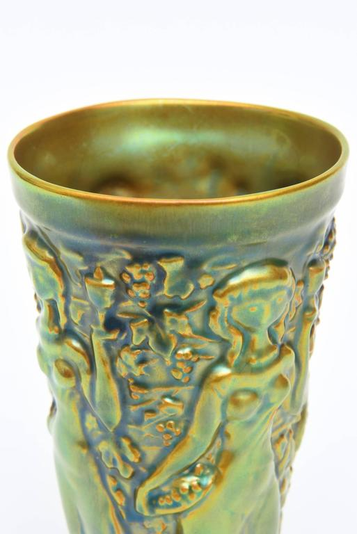 Art Nouveau Zsolnay Glazed Green, Brown and Turquoise Relief Ceramic Vase or Vessel Vintage For Sale