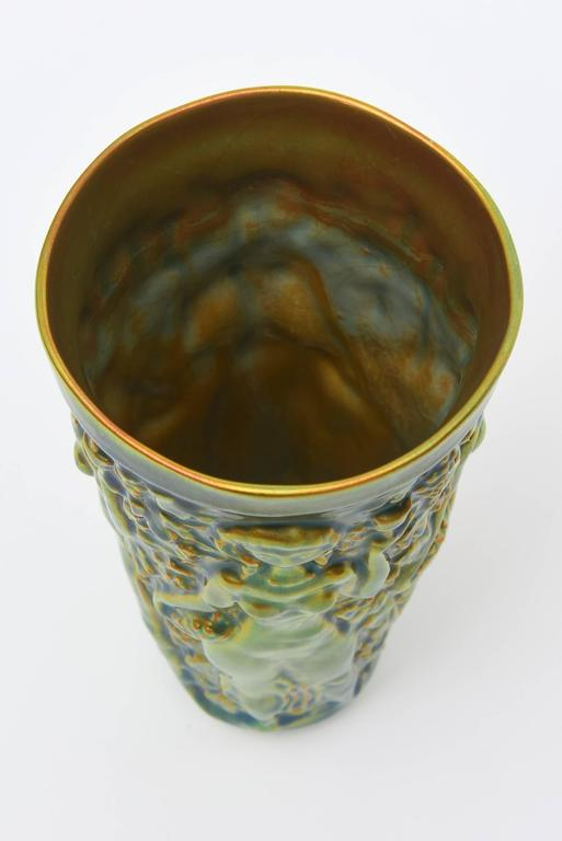 Zsolnay Glazed Green, Brown and Turquoise Relief Ceramic Vase or Vessel Vintage In Good Condition For Sale In North Miami, FL