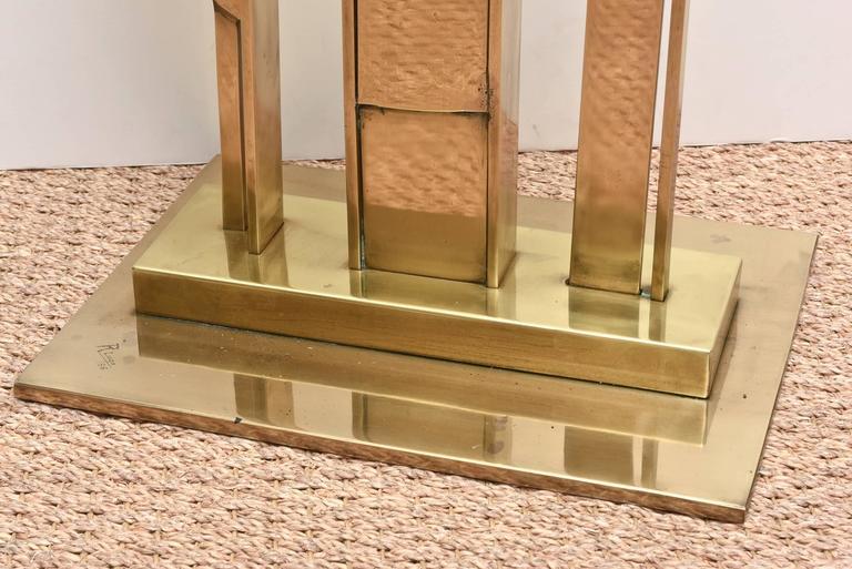 Cuban Monumental Original Signed Bronze Geometric Modernist Floor Sculpture For Sale