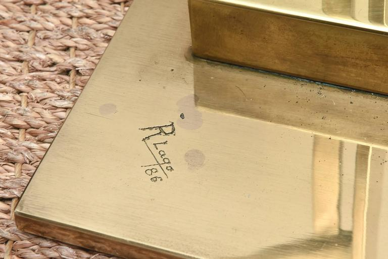 Monumental Original Signed Bronze Geometric Modernist Floor Sculpture In Good Condition For Sale In North Miami, FL