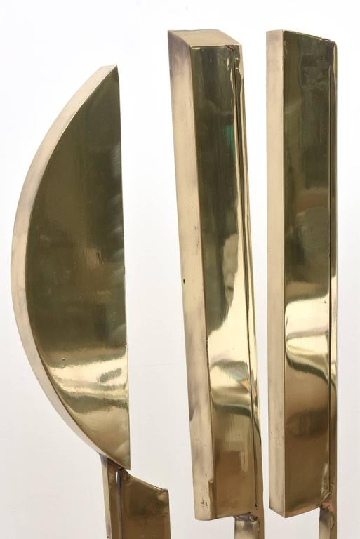 Monumental Original Signed Bronze Geometric Modernist Floor Sculpture For Sale 4