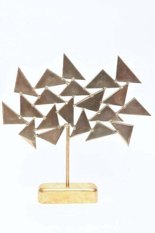 French Signed  Geometric Brass Sculpture In Good Condition For Sale In North Miami, FL