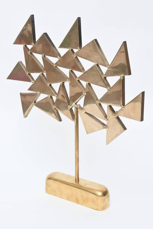 French Signed  Geometric Brass Sculpture For Sale 4