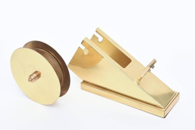 American Modernist, Vintage and Sculptural Brass Tape Dispenser or Tape Holder For Sale