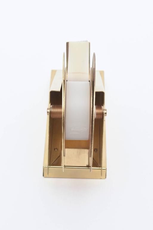 Modernist, Vintage and Sculptural Brass Tape Dispenser or Tape Holder For Sale 1