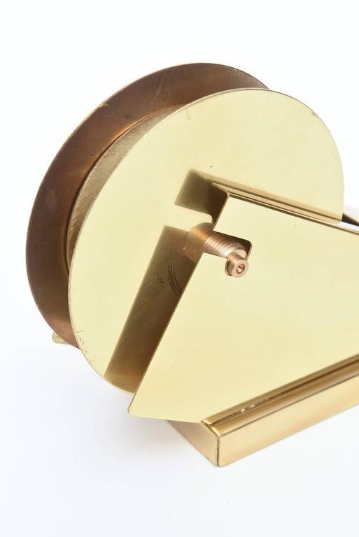Modernist, Vintage and Sculptural Brass Tape Dispenser or Tape Holder For Sale 3