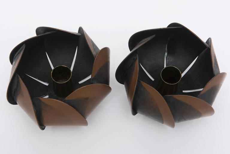 Mexican Pair of Rebajes Copper Mid-Century Modern Candlesticks For Sale