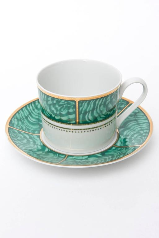 Mid-Century Modern Georges Briard Imperial Malachite Porcelain China Service Vintage For Sale