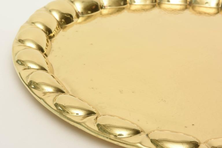 Modern Hand-Hammered Brass Monumental Serving Tray Barware For Sale