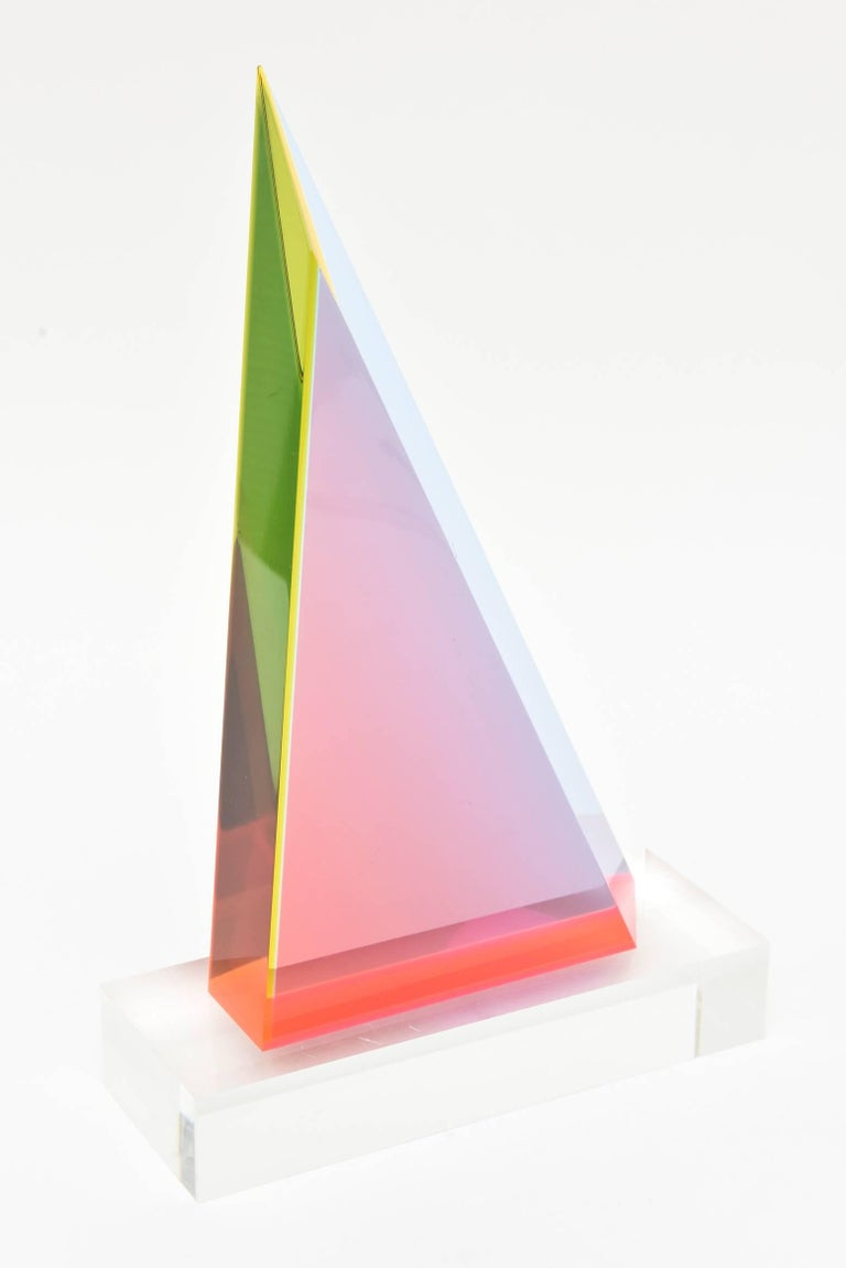 American Signed Vasa Mehich Laminated Lucite Triangle Sculpture For Sale