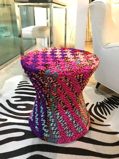 """Pr/"""" It is NOT Missoni"""" sidetables or puffs ,fabric,super colors,handwoven"""