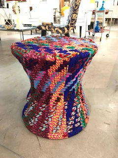 """1  of the PR/""""it is not Missoni""""side table or puff, woven fabric super colors"""