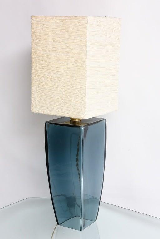Stunning blue color Murano single lamp.Original shade handmade artisan cord is original cloth cord