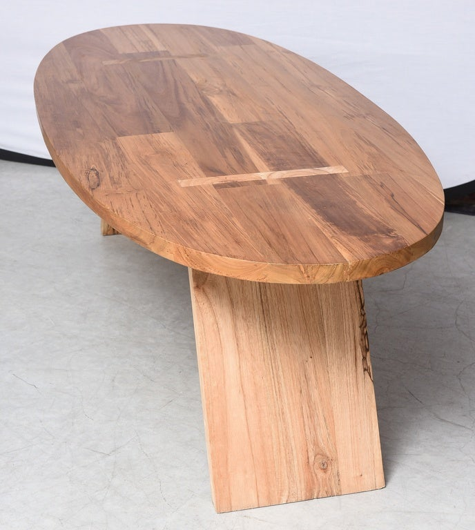 Coffee tableteak woodovalsurfboard shape handmade for Oval teak coffee table