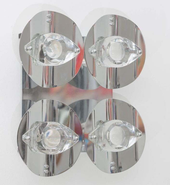 Pair of chrome wall lights by Oscar Terlasco