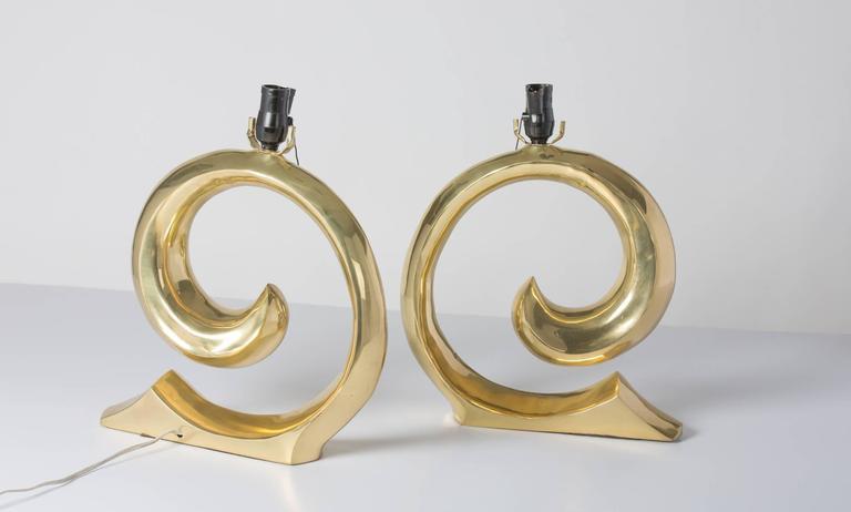 Pierre Cardin Logo Brass Table Lamps 2