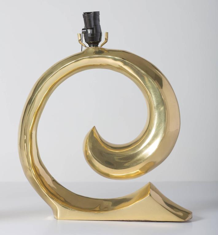 Pierre Cardin Logo Brass Table Lamps 3