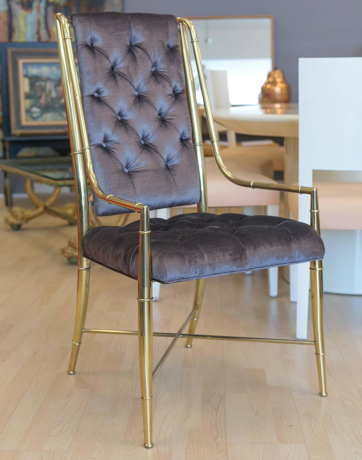 Mastercraft Set Of Dining Room Brass Chairs For Sale At