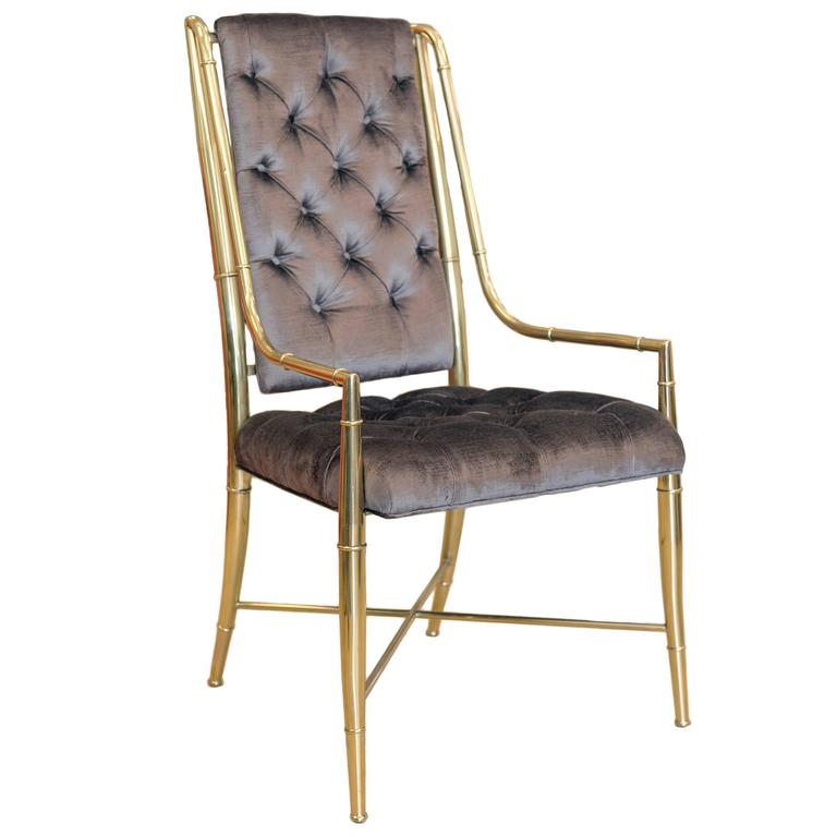 Mastercraft Set of 6 Dining Room Brass Chairs For Sale at